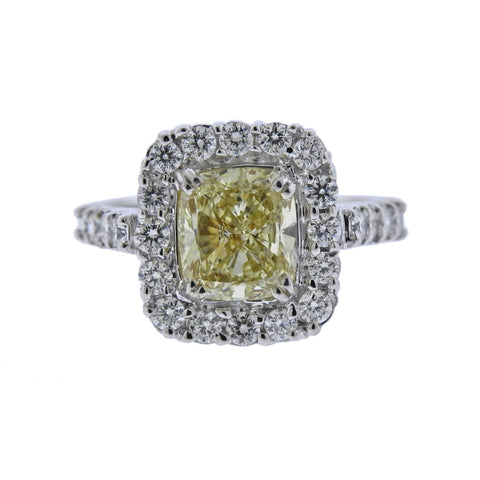 image of GIA Natural Fancy Yellow 3ct Diamond Gold Engagement Ring