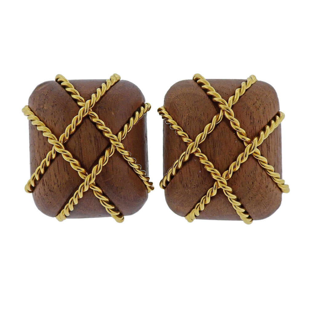 thumbnail image of Seaman Schepps Wood Cage Gold Earrings