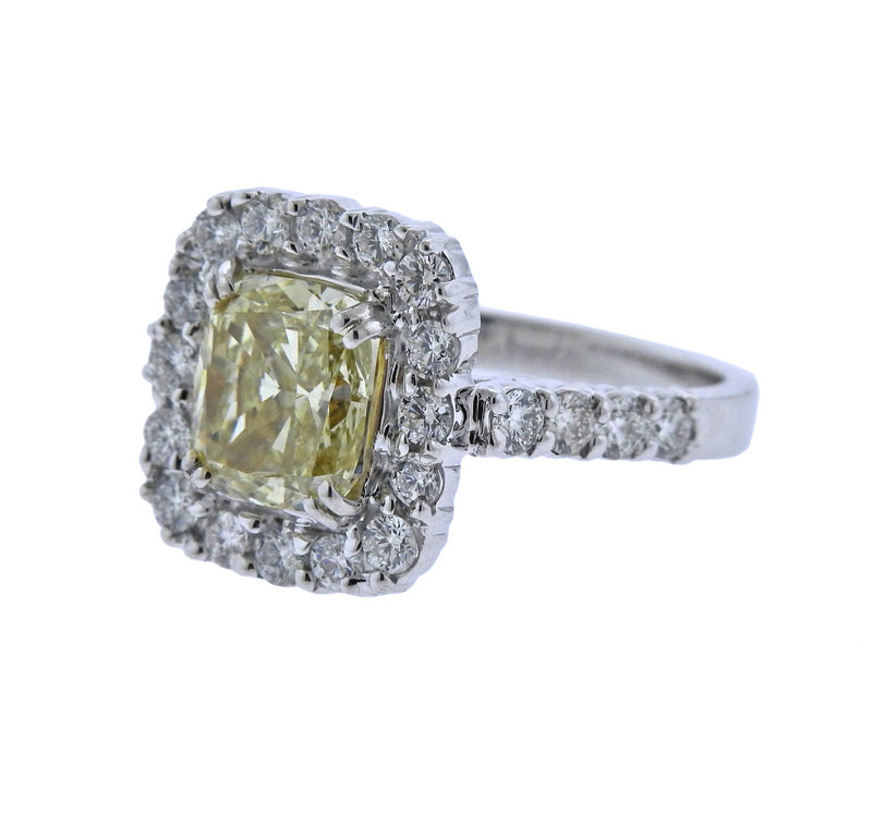 thumbnail image of GIA Natural Fancy Yellow 3ct Diamond Gold Engagement Ring