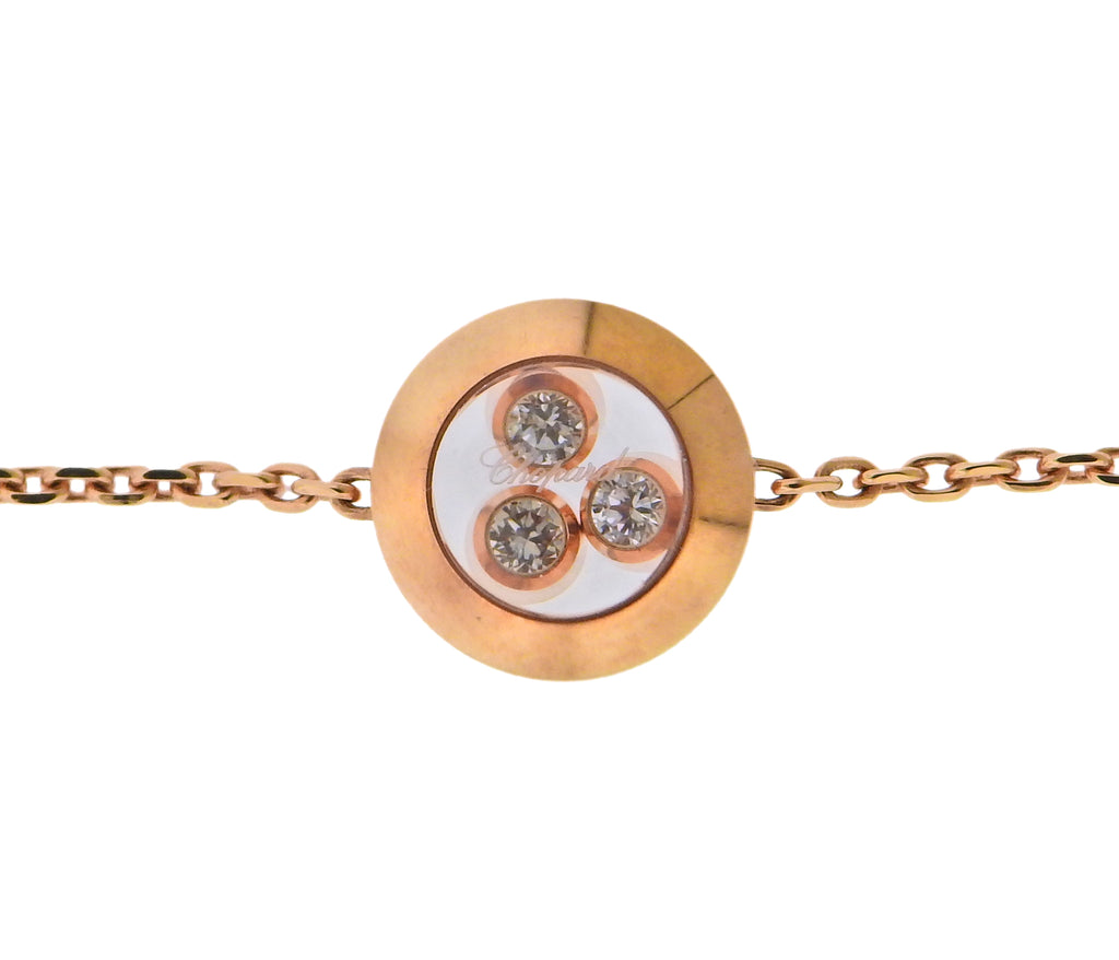 thumbnail image of Chopard Happy Curves Rose Gold Diamond Round Bracelet 859562-5001