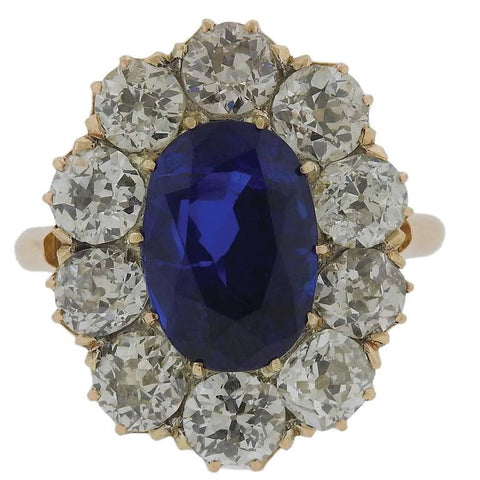 4.41 Carat No Heat Antique Burma Sapphire Diamond Gold Ring