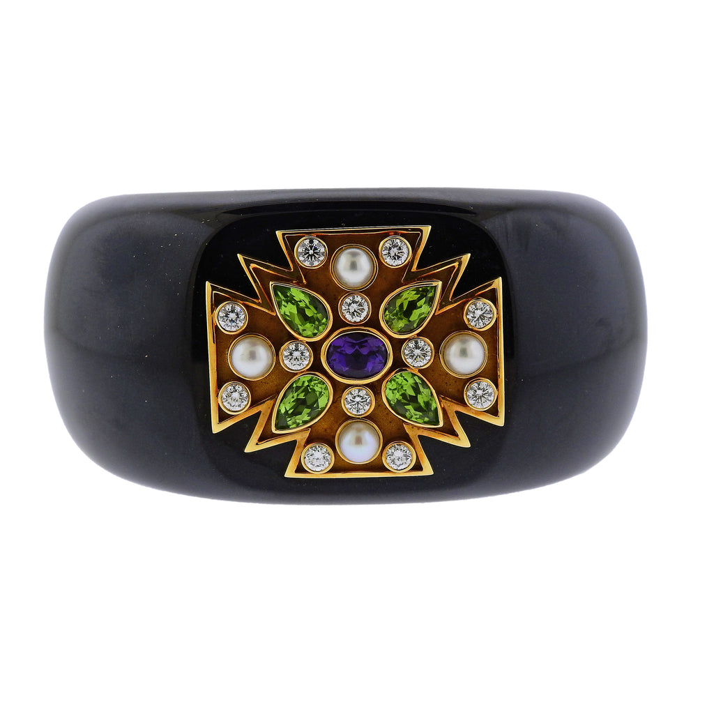 thumbnail image of Verdura Maltese Cross Black Jade Diamond Peridot Amethyst Gold Hinged Bracelet