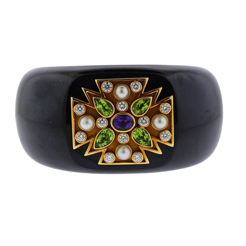 image of Verdura Maltese Cross Black Jade Diamond Peridot Amethyst Gold Hinged Bracelet