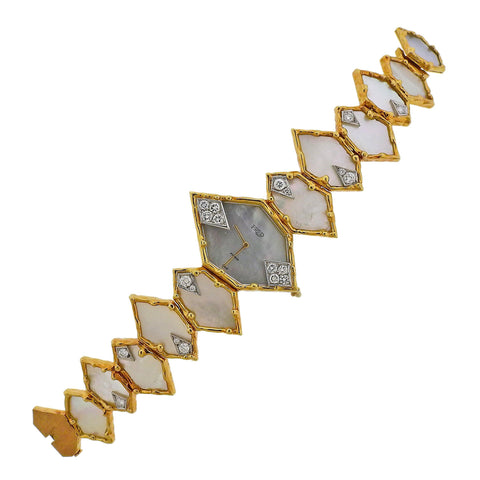 image of One of a Kind Fred Paris Gerald Genta Diamond MOP Gold Watch Bracelet