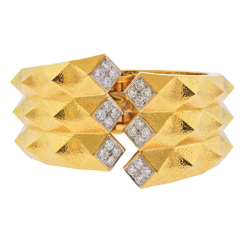 image of David Webb Diamond Gold Platinum Origami Cuff Bracelet