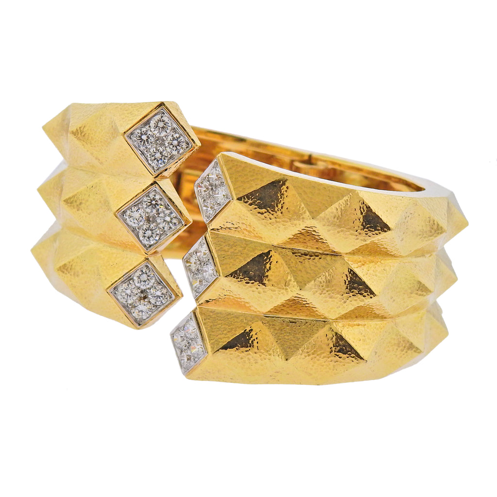 thumbnail image of David Webb Diamond Gold Platinum Origami Cuff Bracelet