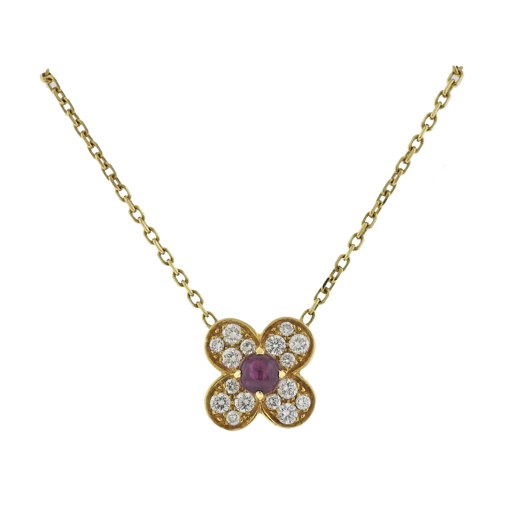 thumbnail image of Van Cleef & Arpels Trefle Gold Diamond Ruby Necklace