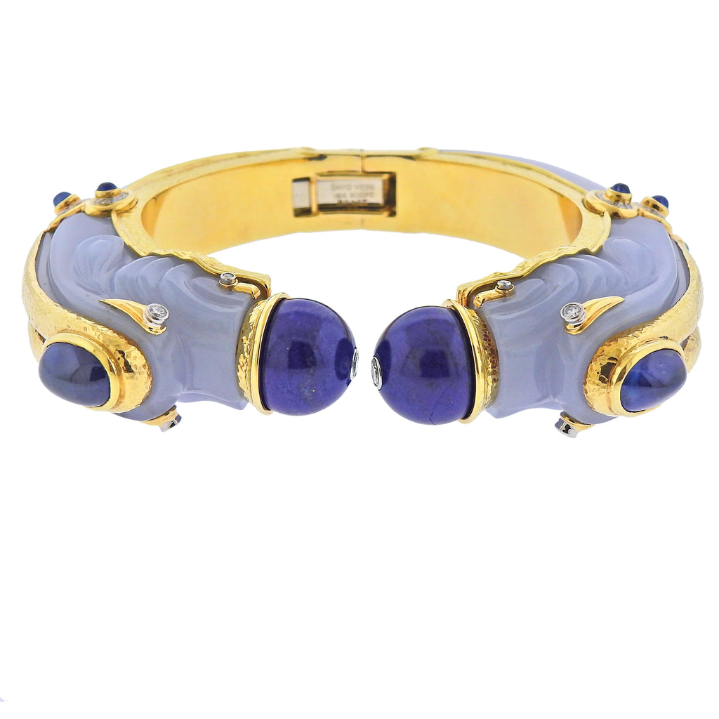 thumbnail image of David Webb Diamond Gold Platinum Lapis Chalcedony Sapphire Chimera Bracelet
