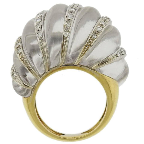 Chic Carved Crystal Diamond Gold Dome Ring
