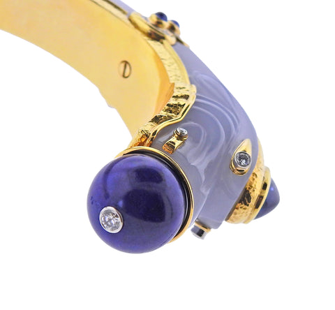 image of David Webb Diamond Gold Platinum Lapis Chalcedony Sapphire Chimera Bracelet