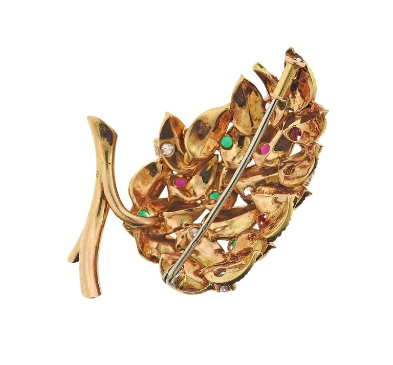 thumbnail image of French 18K Gold Diamond Emerald Ruby Leaf Brooch