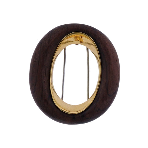 image of 1970s Van Cleef & Arpels Wood Gold Brooch Pin