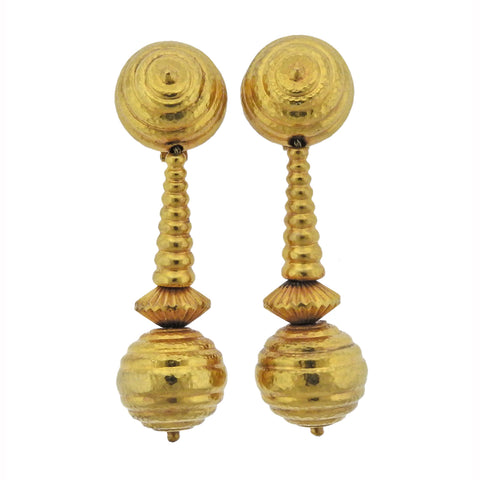 Lalaounis Greece Gold Ball Drop Earrings