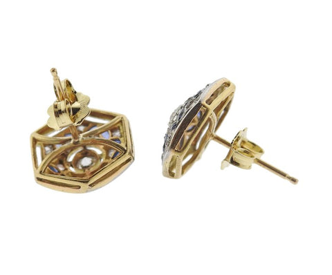 image of Art Deco Diamond Sapphire Gold Stud Earrings