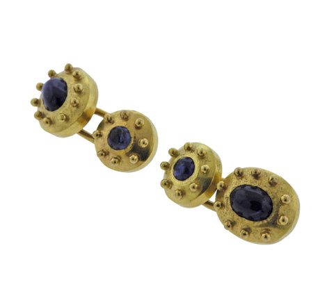 image of Elizabeth Locke Sapphire Gold Cufflinks Stud Set