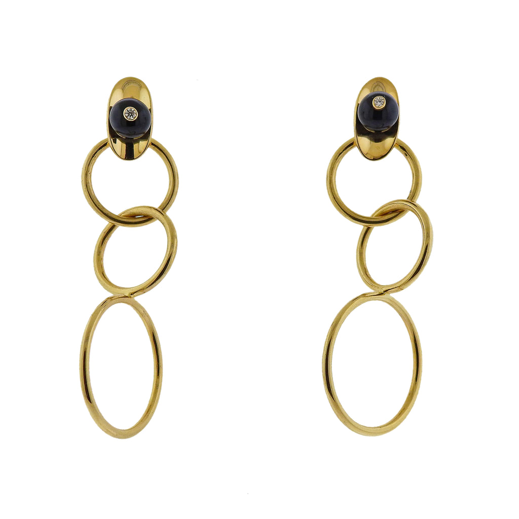 thumbnail image of Aletto Brothers Diamond Onyx Circle Link Earrings