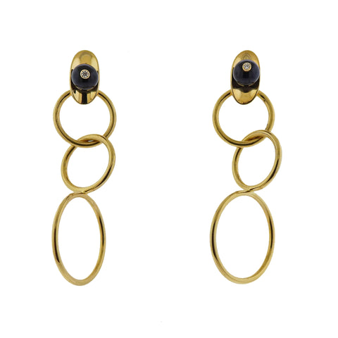 image of Aletto Brothers Diamond Onyx Circle Link Earrings