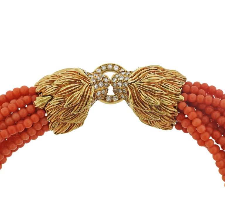 thumbnail image of Diamond Ruby Lion Head Gold Coral Necklace