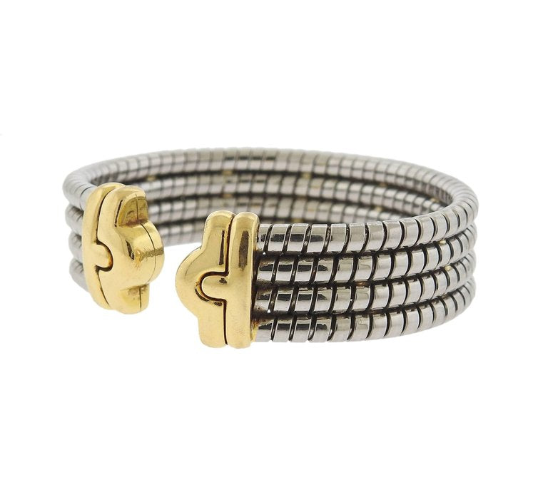 thumbnail image of Bulgari Parentesi Gold and Steel Cuff Bracelet