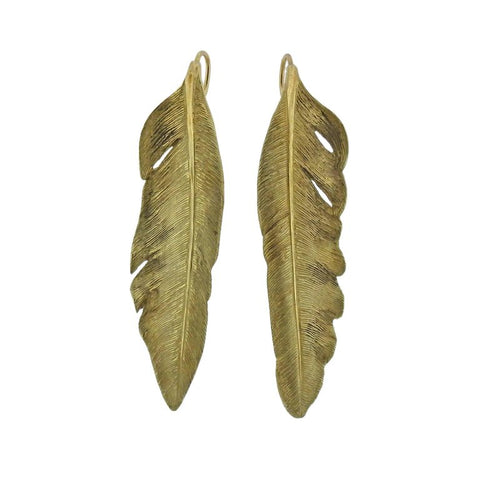 image of Angela Cummings Gold Feather Earrings
