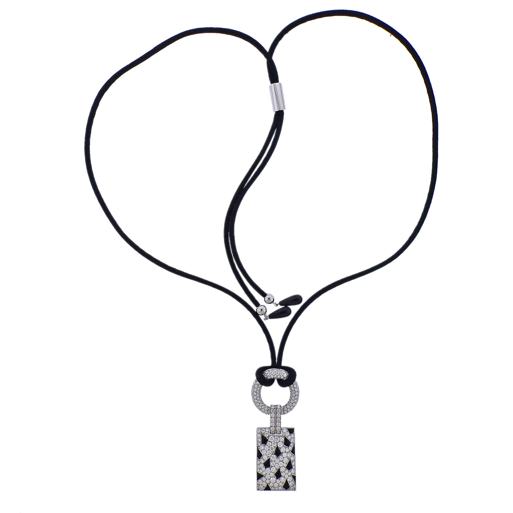 thumbnail image of Cartier Panthere Onyx Diamond Gold Pendant Cord Necklace