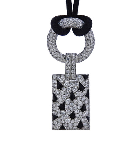 image of Cartier Panthere Onyx Diamond Gold Pendant Cord Necklace