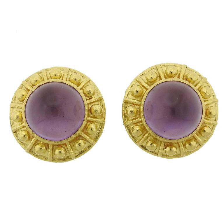 thumbnail image of Elizabeth Locke Amethyst Mother of Pearl Gold Earrings
