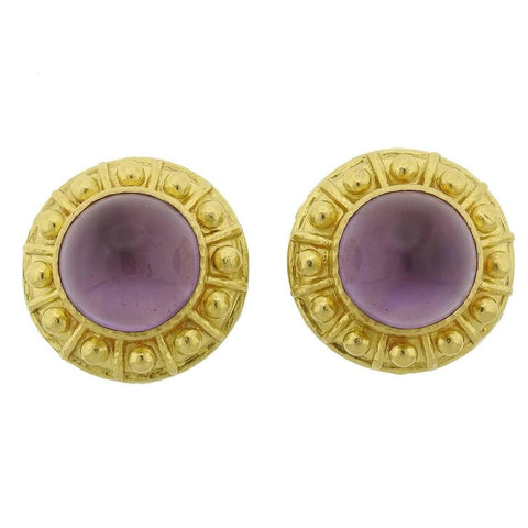 image of Elizabeth Locke Amethyst Mother of Pearl Gold Earrings
