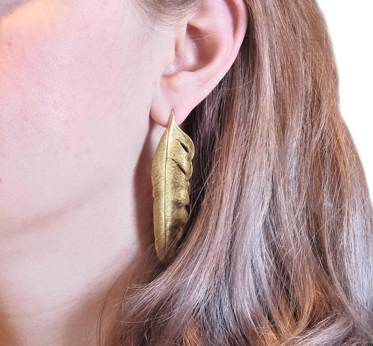 thumbnail image of Angela Cummings Gold Feather Earrings