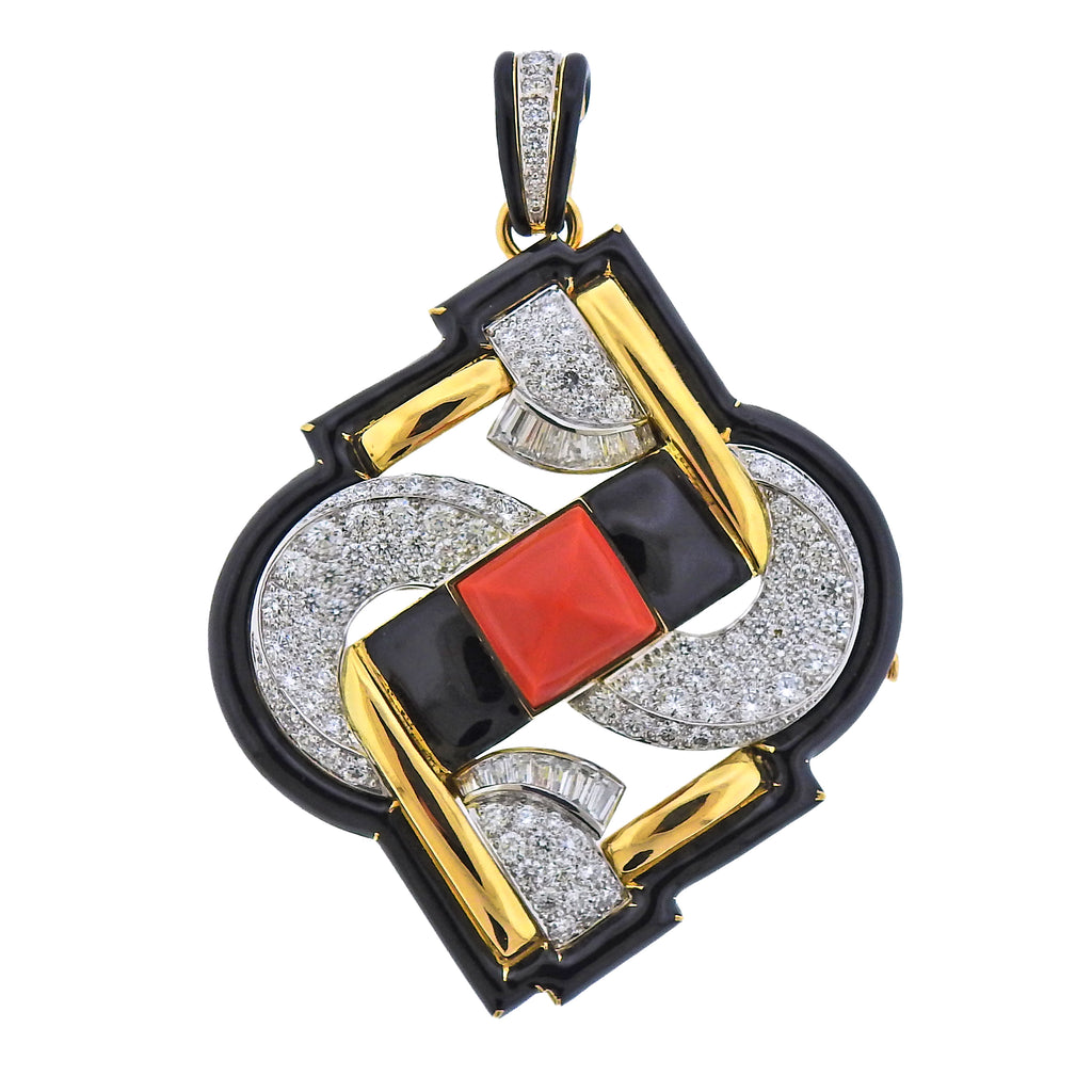 thumbnail image of David Webb One of a Kind Platinum Gold Coral Diamond Enamel Pendant Brooch