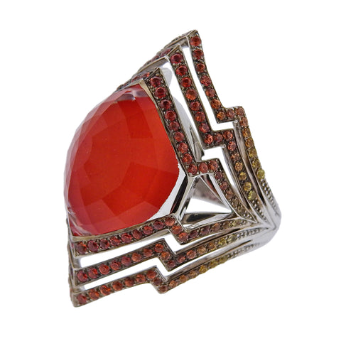 image of Stephen Webster Lady Stardust Coral Quartz Sapphire Gold Ring