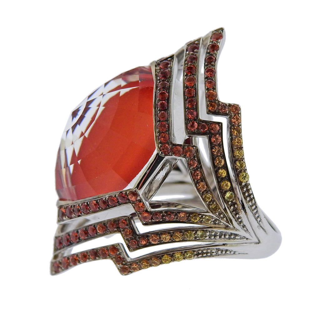 thumbnail image of Stephen Webster Lady Stardust Coral Quartz Sapphire Gold Ring
