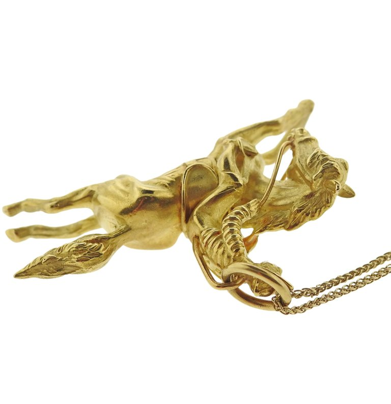 thumbnail image of Adria de Haume Gold Jockey Pendant Necklace