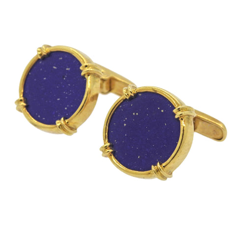 image of 18k Gold Lapis Cufflinks