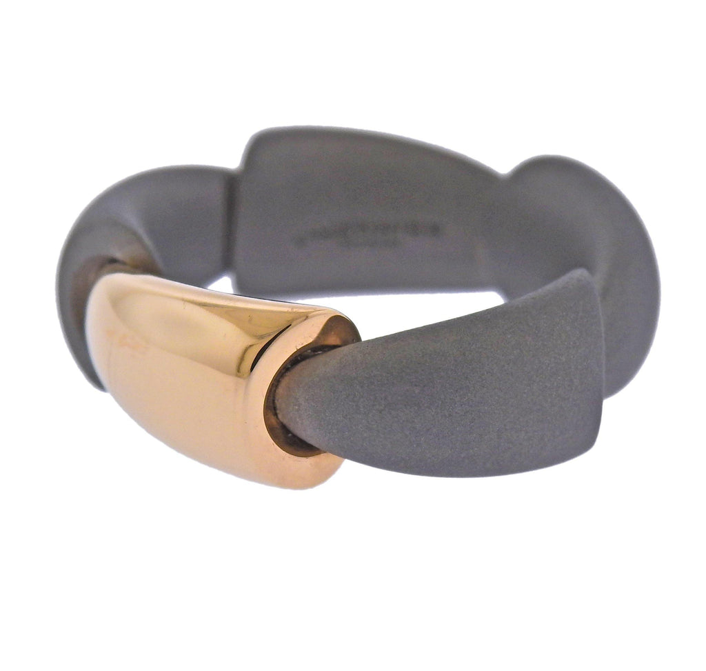 thumbnail image of Vhernier Calla Rose Gold Titanium Ring