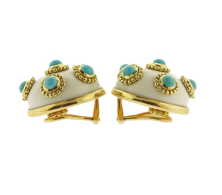 thumbnail image of Adria de Haume Turquoise Hardstone Gold Button Earrings