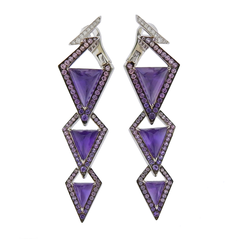 thumbnail image of Stephen Webster Lady Stardust Amethyst Sapphire Diamond Earrings