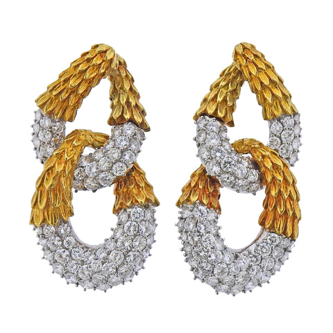 image of 1980s 16 Carat Diamond Gold Earrings