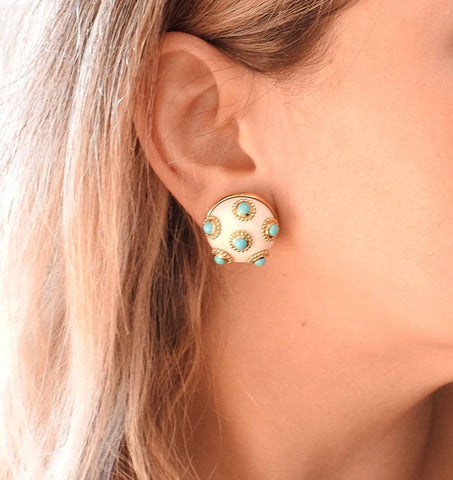 image of Adria de Haume Turquoise Hardstone Gold Button Earrings