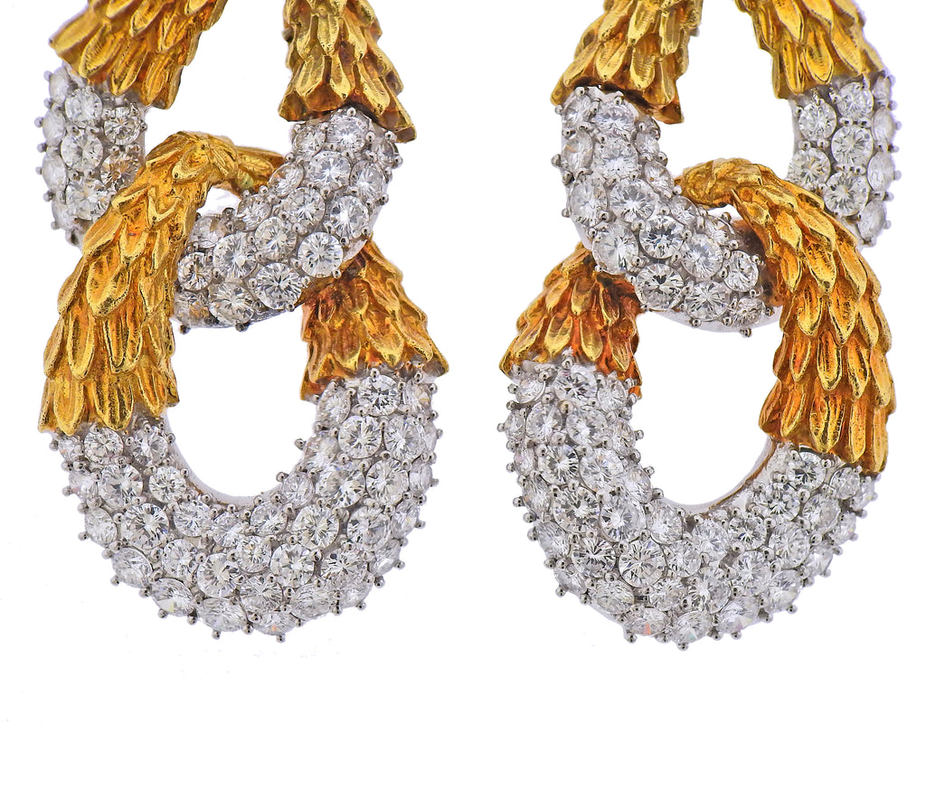 thumbnail image of 1980s 16 Carat Diamond Gold Earrings