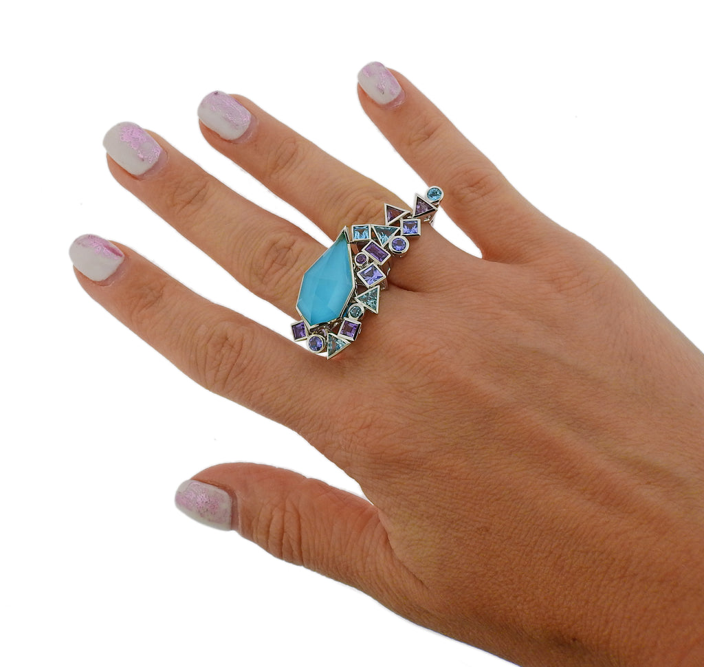 thumbnail image of Stephen Webster Gold Struck Turquoise Tanzanite Two Finger Ring