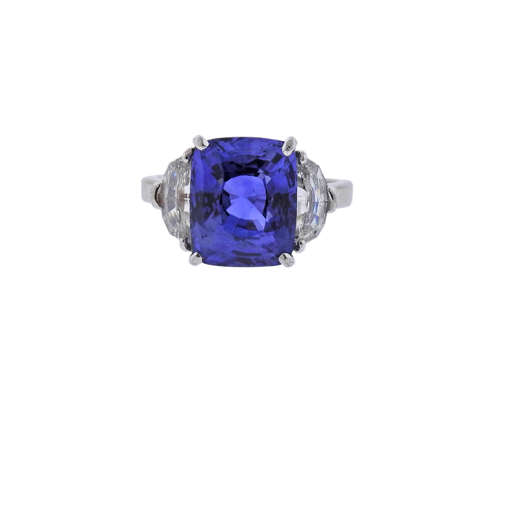 thumbnail image of Certified 7.08ct Sapphire Diamond Platinum Engagement Ring