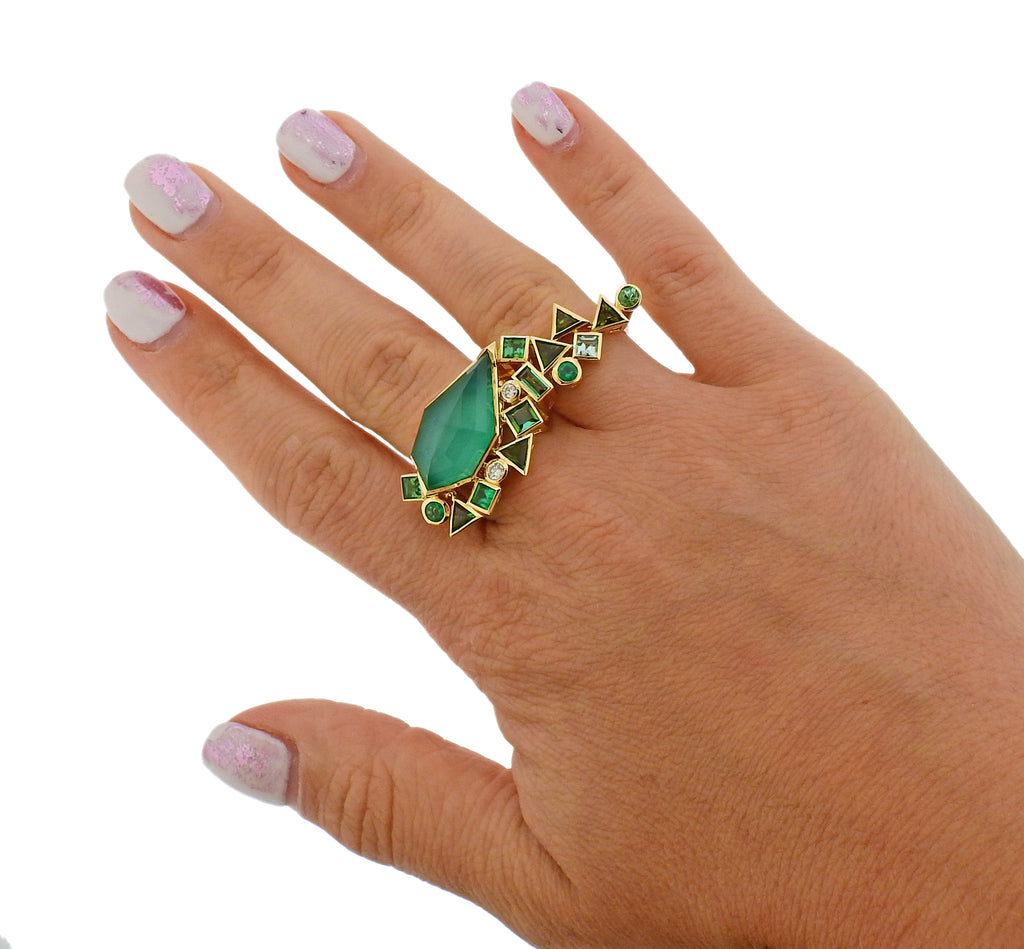 thumbnail image of Stephen Webster Gold Struck Diamond Emerald Agate Two Finger Ring