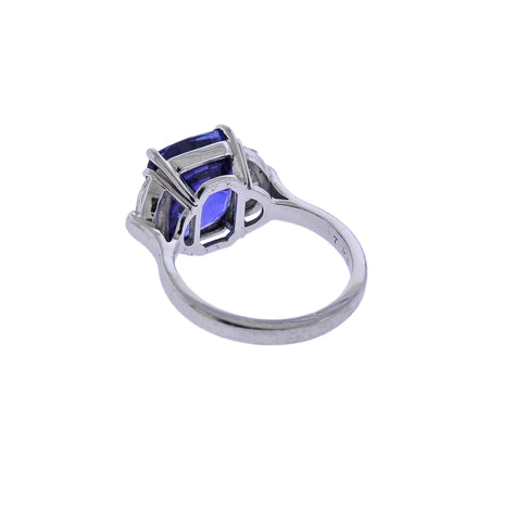 image of Certified 7.08ct Sapphire Diamond Platinum Engagement Ring