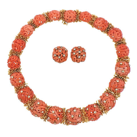 image of David Webb 1960s Diamond Carved Coral Gold Earrings Necklace Set