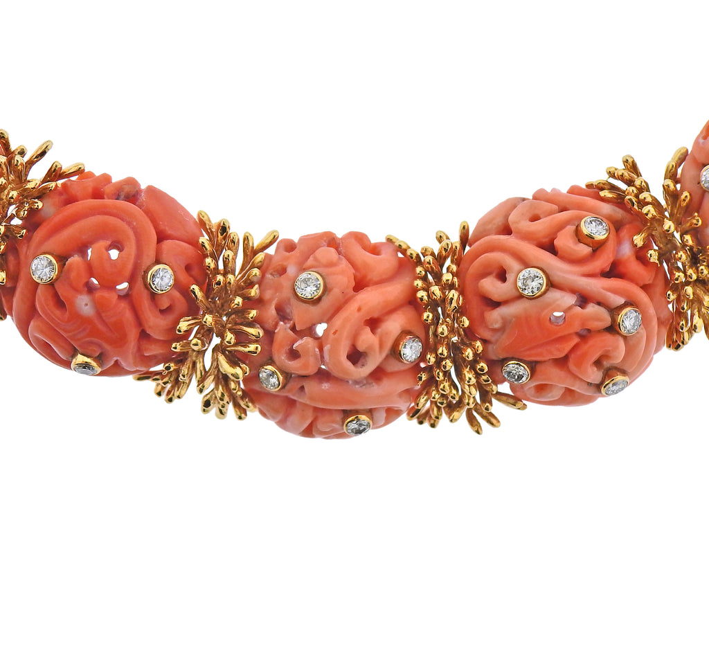 thumbnail image of David Webb 1960s Diamond Carved Coral Gold Earrings Necklace Set