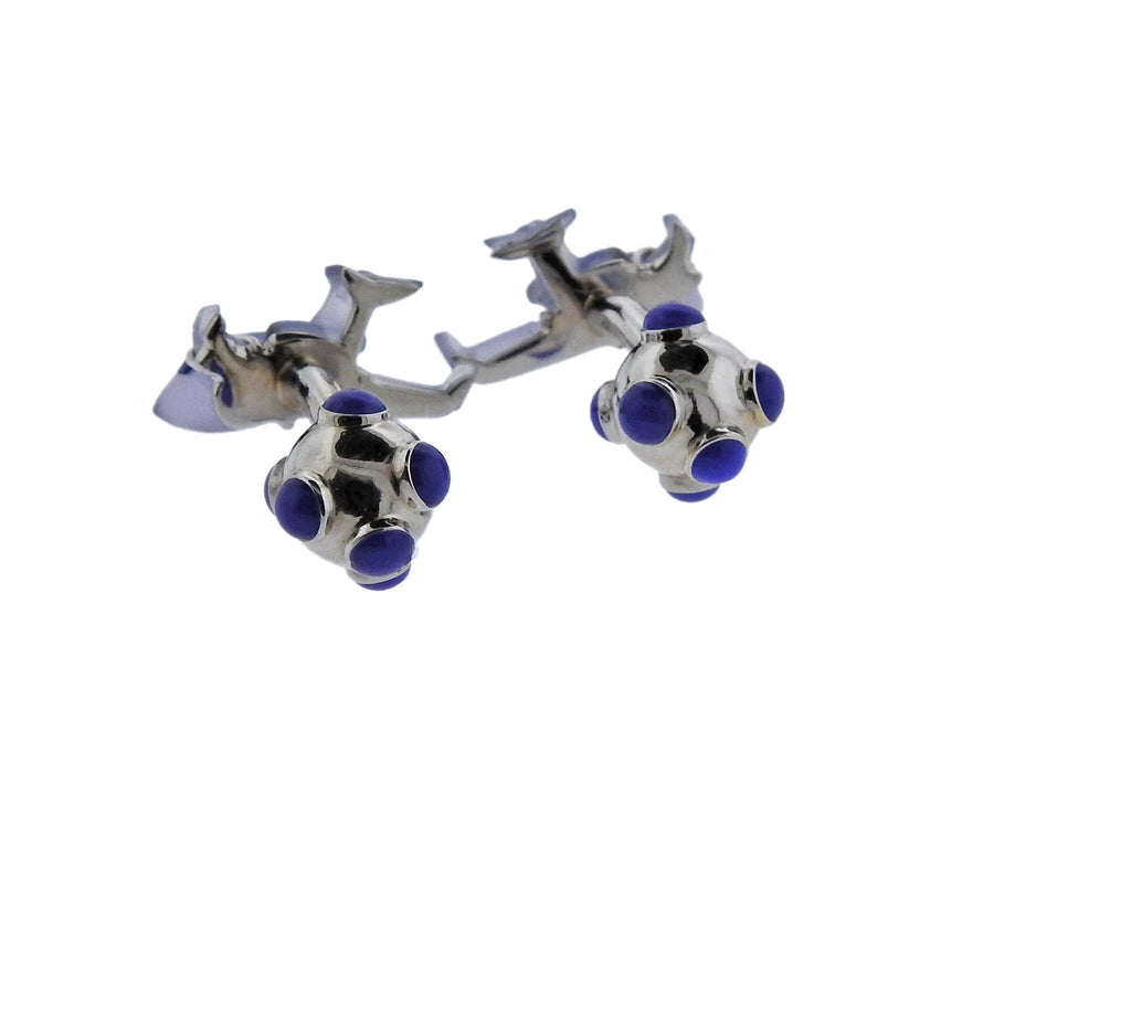 thumbnail image of Chalcedony Crystal Diamond Airplane Gold Cufflinks