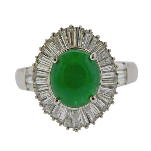 image of 2.76 Carat Jade Diamond Platinum Ring