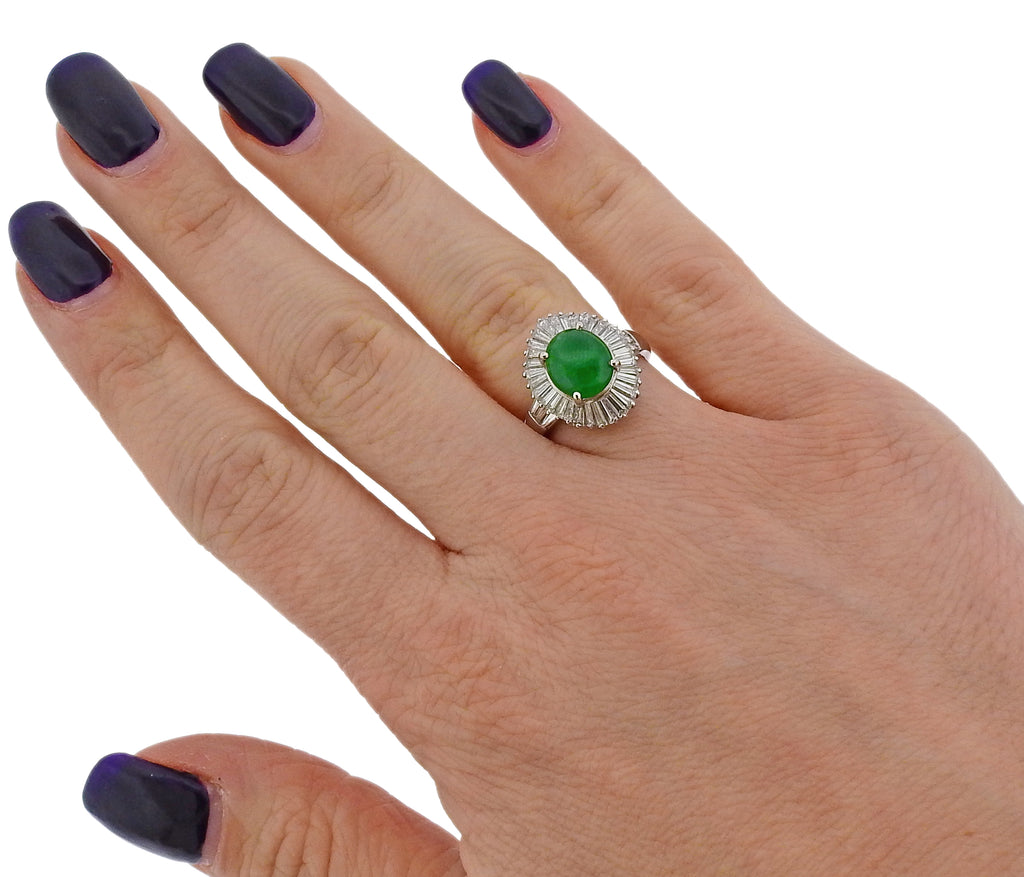 thumbnail image of 2.76 Carat Jade Diamond Platinum Ring