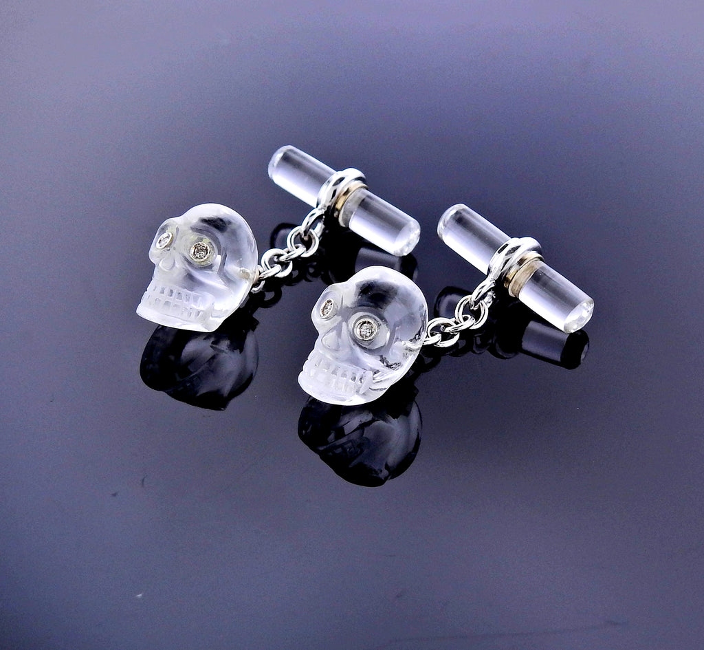 thumbnail image of Carved Crystal Diamond Gold Skull Cufflinks